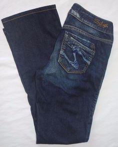 Silver Jeans Western Glove Works LAEL dark distressed denim bootcut SZ 25 Buckle #SilverJeans #BootCut