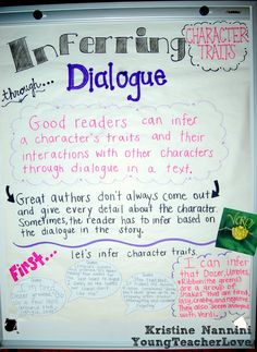 Young Teacher Love: Inferring Character Traits Through Dialogue (Plus a Free Graphic Organizer)!