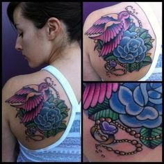 ... Rose With Swallows Tattoo Beautiful Rose Tattoo Purple Heart Blue