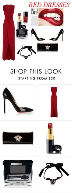 """""""Red Dresses"""" by lella97 ❤ liked on Polyvore featuring Christian Louboutin, HotSquash, Versace, Chanel, Yves Saint Laurent, women's clothing, women, female, woman and misses"""