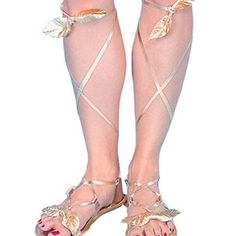 One pair of soft fabric sandals. Soles are thin and have golden straps. (Again Alandri shoes).