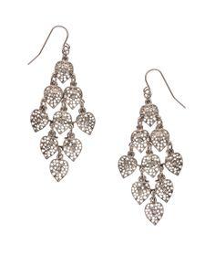Heart Leaf Crystal Chandelier Earrings | Silver | Accessorize