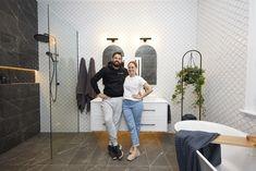 The Block 2020: Master Ensuite Reveals The Block Bathroom, White Bathroom Tiles, Bathroom Renos, White Tiles, Walk In Robe, Walk In Wardrobe, Fish Scale Tile, Smart Toilet, Beaumont Tiles