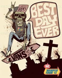 Vans Warped Tour Poster by the 2nd out of our 29 Ally of the Year nominees, kid, on CreativeAllies.com and on sale as a T-shirt at AllyOriginals.com