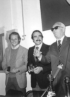 The Emperor and two of his best Gladiators: Niki Lauda , and Clay Regazzoni  with Enzo Ferrari.