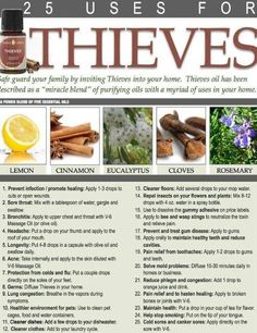 Thieves is so important to have around especially in the Cold/Flu Season! This is just a few of the uses for it! Please visit our friend Anointed Essentials Facebook Page! There you will fin...