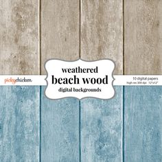 Beach Wood Digital Paper - 10 shabby chic colors - great for photography backgrounds, scrapbooking paper, wedding invitations, bridal shower invitations, any craft supply!