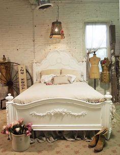 Cottage peint minable blanc romantique Queen Bed BD400