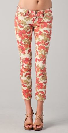Paige Floral Ankle Peg Skinny Jeans in Pink | Lyst