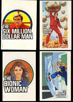 Bionic Woman - Six Million Dollar Man - Cereal Premium Stickers - 1973 1970s Tv Shows, Old Tv Shows, Kenner Toys, Bionic Woman, Steve Austin, Saturday Morning Cartoons, Ol Days, Classic Tv, My Memory