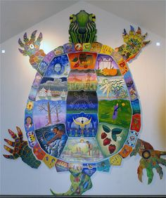 A turtle painted by local tribe members displays the Oneida Nation's circle of annual celebrations featuring seasonal food. Photo by: Carrie Chesnik Indigenous Art, Native Art, Turtle Art, Indian Art, Art Projects, Painting, Art, Sacred Art