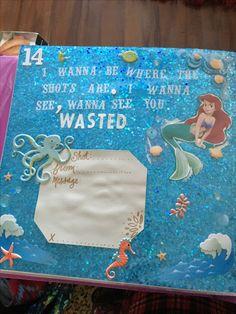 Shot book page Birthday Shots, Birthday Book, 21st Birthday Gifts, 21st Shot Book, Shot Book Pages, 21st Bday Ideas, Birthday Gift Baskets, Black And White Theme, White Elephant Gifts