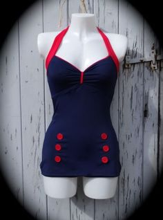 1950s-pin-up-bleu-marine-vintage-maillot-de-bain-10-12-14-16-18-retro-swimming-costume