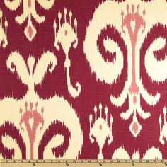 Home Accents Himalaya Ikat Raspberry from @fabricdotcom  Screen printed on cotton slub duck (has the appearance of linen) this medium weight fabric is very versatile. This fabric is perfect for window treatments (draperies, curtains, valances, and swags), bed skirts, duvet covers, pillow shams, accent pillows, tote bags, aprons, slipcovers and upholstery. Colors include pink, ivory and raspberry.