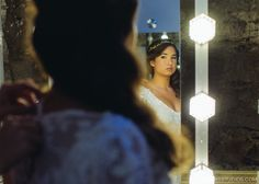 The bride gets ready in the Gerding Theater dressing room. Photo by powersstudios.com. #portland #wedding