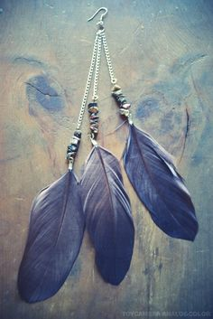 Gypsy Stone Long Feather Earring by francisfrank on Etsy, $12.00