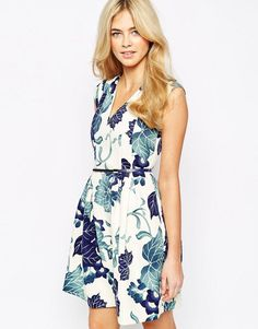Oasis | Oasis Jacquard Printed Skater Dress at ASOS