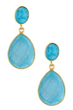 Gold plated sterling silver, turquoise 20.00 ctw