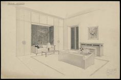 Jean ROYERE (1902-1981), living room project with fireplace for Mrs Lecomte, about 1950, drawing, Les Arts Décoratifs Museum, Paris. Museum Paris, Vine Wall, Types Of Furniture, Madame, Arts, Lounge, French, Living Room, The Originals