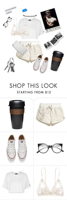 """White hipster(ish) look"" by victoriajassan ❤ liked on Polyvore featuring KeepCup, H&M, Converse, Topshop, Hanky Panky and Native Union"