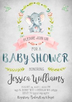 Elephant Baby Shower Invitation Invitations Invite Invites Rustic Shabby Chic Vintage Watercolor Little It's A Boy Birds Woodland