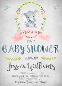 Elephant Baby Shower Invitation Invitations Invite Invites Rustic Shabby Chic Vintage Watercolor Little It's A Boy Birds Woodland
