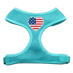 Mirage Heart Flag USA Screen Print Soft Mesh Harness Aqua Large ** See this great image  : Cat Collar, Harness and Leash