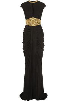 Alexander Mcqueen Embellished Stretch-Jersey Gown in Black   Lyst