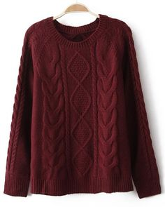 Solid Color Cable Knit Stylish Jewel Neck Long Sleeve Pullover Women's Sweater