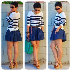 OOTD: #Forever21 Sweater + Denim Skirt  #SteveMadden Bag    www.mimigstyle.com