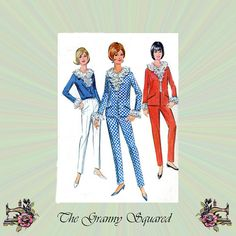 60s Mod Pants Suit: Jacket Pants and Blouse by TheGrannySquared