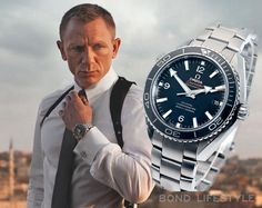 Daniel Craig aka James Bond with his usual spy tool Omega Seamaster Planet Ocean.⠀ Have you heard of his upcoming movie? Mens Designer Watches, Luxury Watches For Men, Fine Watches, Cool Watches, Men's Watches, James Bond Watch, Omega Seamaster Planet Ocean, Seamaster Watch, Expensive Watches