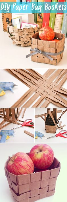 So cute! DIY paper bag baskets. Use this for the kids colors and coloring books