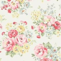 Spring Bouquet Cotton Duck - White - White fabric with lively spring bouquet flowers Cath Kidston Patterns, Cath Kidston Fabric, Cath Kidston Wallpaper, Spring Flower Bouquet, Bouquet Flowers, Creative Textiles, Linens And Lace, Decoupage Paper, Pretty Patterns
