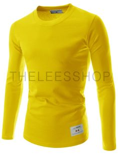 (TRL01-YELLOW) Unisex Slim Fit Tee Casual Round Neck Long Sleeve Solid Cotton Tshirts