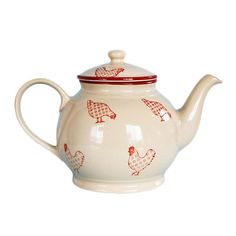 This vintage-inspired Barnyard tea and coffee pot brings a cozy country touch to the table. The red and cream stoneware is hand-painted in country style. Coffee/ tea pot Vintage-inspired Barnyard coun