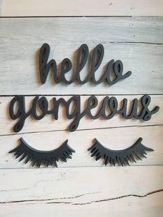 Hello Gorgeous Sign Dorm Room Decor Playroom Wall Sign | Etsy Spa Room Decor, Beauty Room Decor, Beauty Salon Decor, Makeup Room Decor, Bedroom Decor, Small Beauty Salon Ideas, Small Salon, Makeup Rooms, Beauty Salon Interior