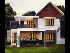 Searching for 2300 sq ft 4 bed room modern home design pictures ? then here is a modern below 2300 sq ft 4 bed room luxury Kerala style villa design idea from leading home design team cochin… 2 Storey House Design, Bungalow House Design, House Front Design, Small House Design, House Design Pictures, Modern Bungalow, Indian Home Design, Kerala House Design, Latest House Designs