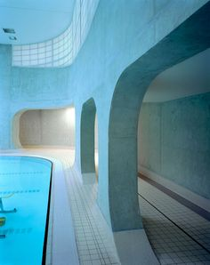 rounded skylights illuminate mikou studio's pool facility in france