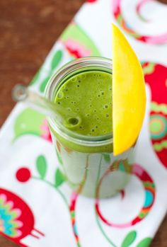 Green Pina Colada Smoothie (mango, spinach, coconut milk) | Simple Bites #recipe #smoothie