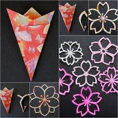 DIY Sakura Kirigami Paper Flowers