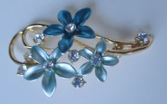 Retro Blue Daisy Flowers With Rhinestone by PoetTreesPromise