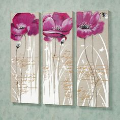 Poppy Blossoms Floral Canvas Wall Art Set