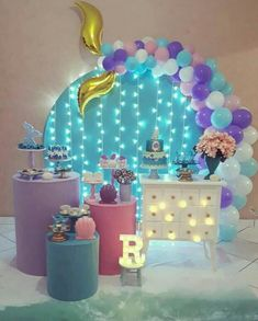Mermaid Theme Birthday, Little Mermaid Birthday, Little Mermaid Parties, Mermaid Party Decorations, Birthday Party Decorations Diy, 1st Birthday Parties, Barbie, Birthday Balloons, Baby Shower