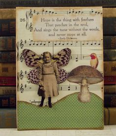 Fairy and Mushoom with Hummingbird - Emily Dickinson Quote - Collage Art Mixed Media
