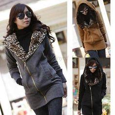 Women's Long Sleeve Sweatshirt Jacket Coat Zipper Thick Warm Hoodie Outwear Hot