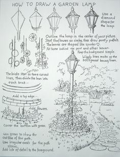 Drawing Tutorial How to Draw Worksheets for The Young Artist: How To Draw A Garden Lamp Post Drawing Lessons, Drawing Techniques, Drawing Tips, Drawing Sketches, Art Lessons, Painting & Drawing, Art Drawings, Sketching, Basic Drawing