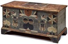 painted, decorated yellow pine blanket chest attributed to Johannes Spitler Massanutten, Page County, VA via: Freemans Auction Art Furniture, Hand Painted Furniture, Vintage Furniture, Painted Trunk, Painted Chest, Painted Boxes, Blanket Box, Blanket Chest, Antique Chest