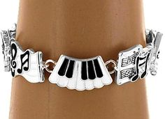 Piano Musician Music Notes Gift Charm Bracelet Silver Enamel Charms USA Seller