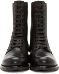 Pierre Balmain Black Leather Paneled Combat Boot